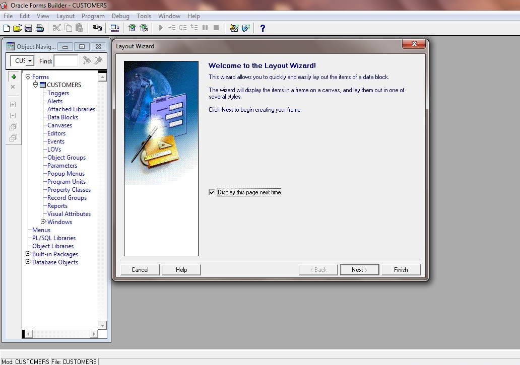 Create Wizard Layout Oracle Forms 11g: Display in a frame on a canvas
