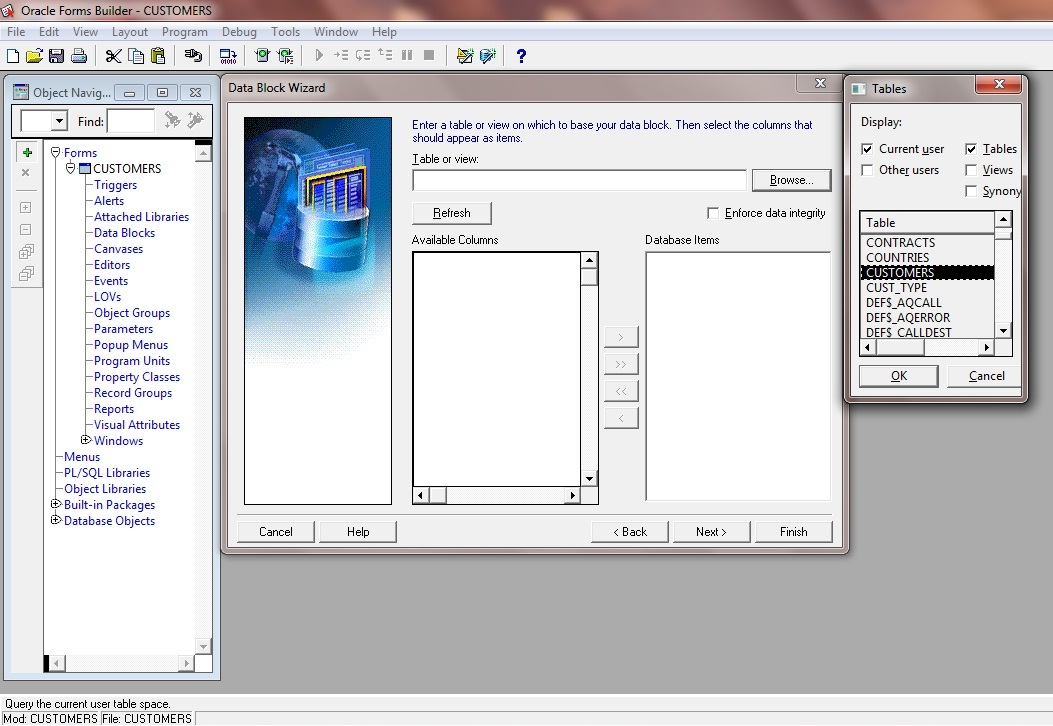 Part 2 - Tutorial Create New Data Block Wizard in Oracle Forms 11g